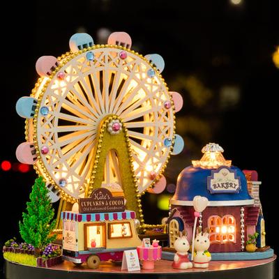 DIY House Model cabin ferris wheel handmade assembling toy house model villa Christmas creative birthday gift