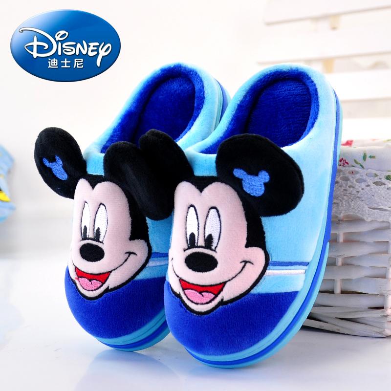 迪士尼男童女童小孩子防滑室内儿童托鞋宝宝中大童亲子棉拖鞋冬季