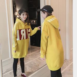 【8309#實拍】韓版孕婦新款冬季加絨加厚保暖連帽中長款孕婦裝