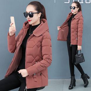 韩版女装修身加厚连帽羽绒棉服