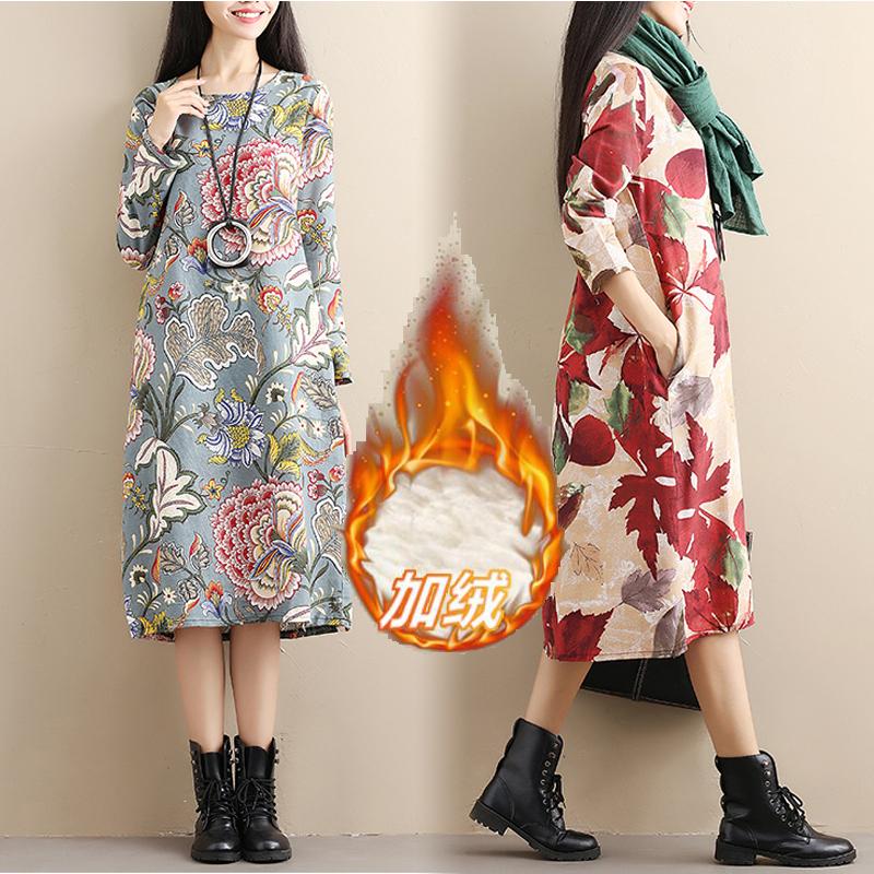 秋冬新款文艺复古韩版中长款大码女装加绒加厚宽松长袖棉麻连衣裙