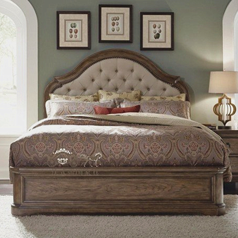 Double bed soft American solid wood American country retro do old oak bed European simple modern marriage bed 1.8