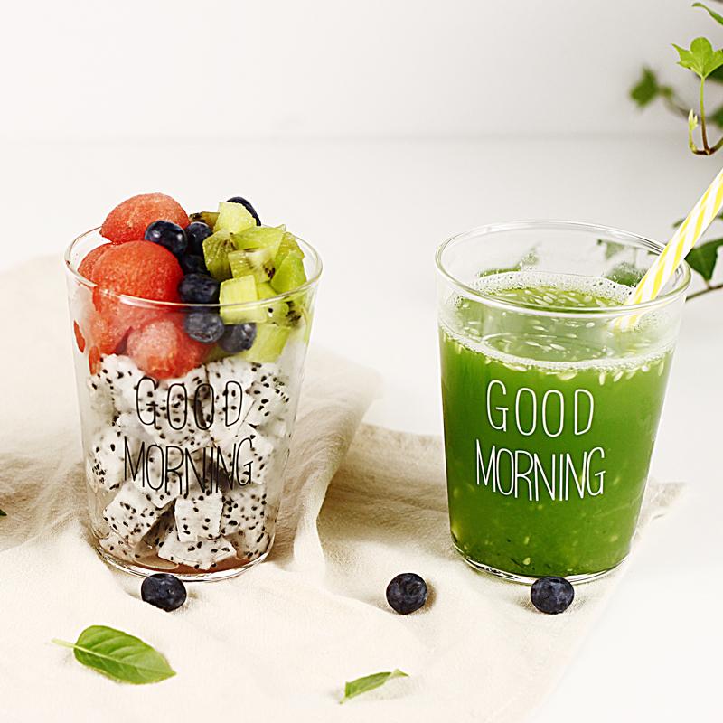 白色字早餐杯日本人氣同款good morning早餐果汁杯 思慕雪玻璃水杯 耐熱花茶杯
