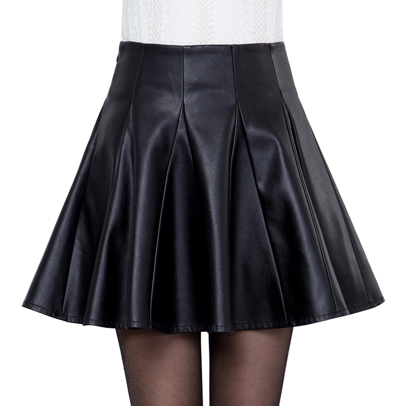 【天天特价】皮裙半身裙大码女装pu皮小皮裙高腰a字短裙女百褶裙