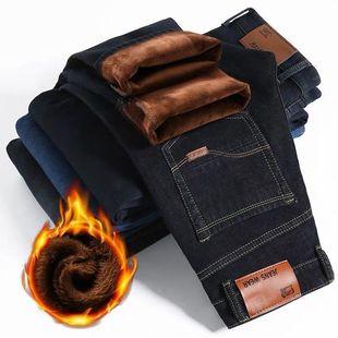 男士秋冬加绒牛仔裤弹力休闲裤直筒裤男裤