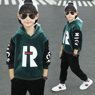 冬季新款男童金丝绒套装韩版洋气加绒加厚男孩两件套