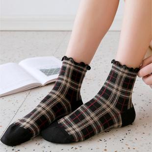 日系可爱花边格子袜子女中筒袜韩版纯棉英伦学院风文艺木耳边短袜