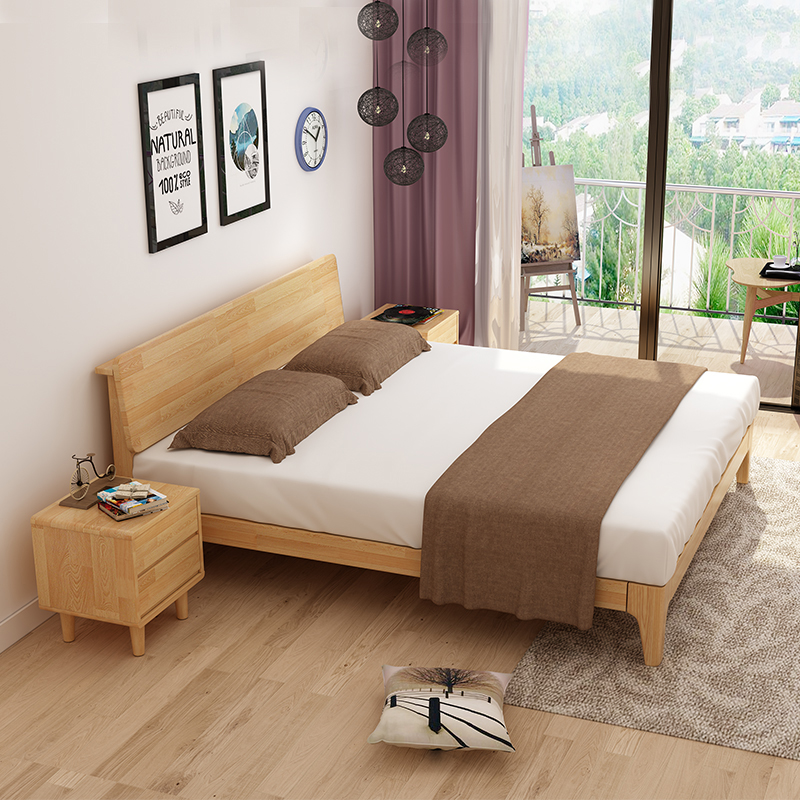 The Nordic modern minimalist wooden solid oak 1.8m Zhuwo soft on large-sized apartment 1.5m double bed furniture