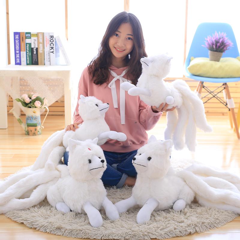 白狐小號高26厘米長56厘米含尾巴九尾白狐公仔毛絨玩具白狐狐貍抱枕靠墊玩偶布娃娃婚慶禮物