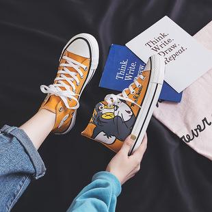 2019秋季新款高帮帆布鞋女韩版学生小白鞋女平底跑步休闲鞋女板鞋