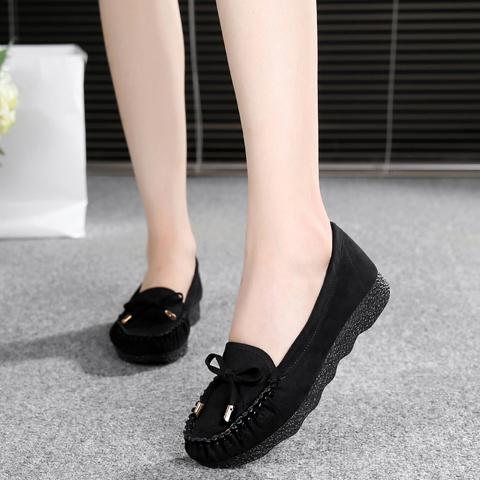 老北京布鞋女鞋豆豆鞋平底蝴蝶结单鞋百搭棉鞋黑色工作鞋女休闲鞋