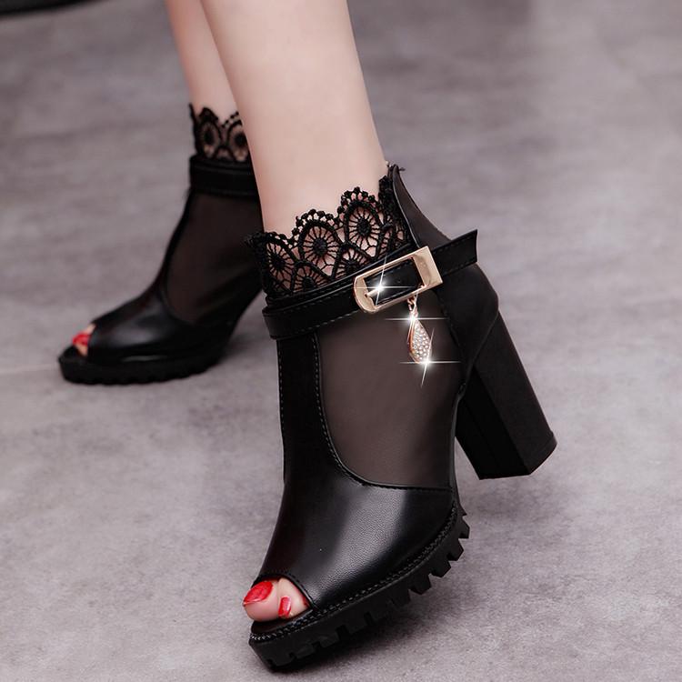 2017新款韓版蕾絲網紗魚嘴靴春季短靴粗跟透氣女鞋高跟涼鞋羅馬鞋