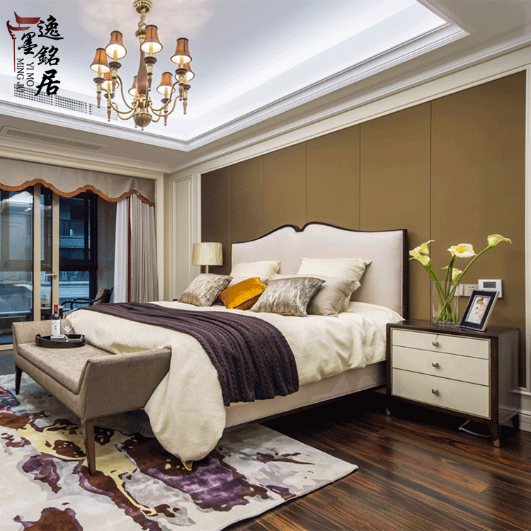 The new Chinese modern minimalist wooden bed bedroom bed Jane double wedding bed hotel room 1.8m custom furniture
