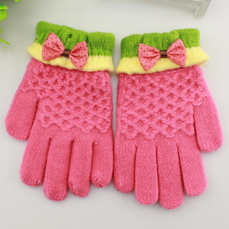 儿童手套冬保暖五指女童可爱小学生写字手套宝宝男童针织提花手套