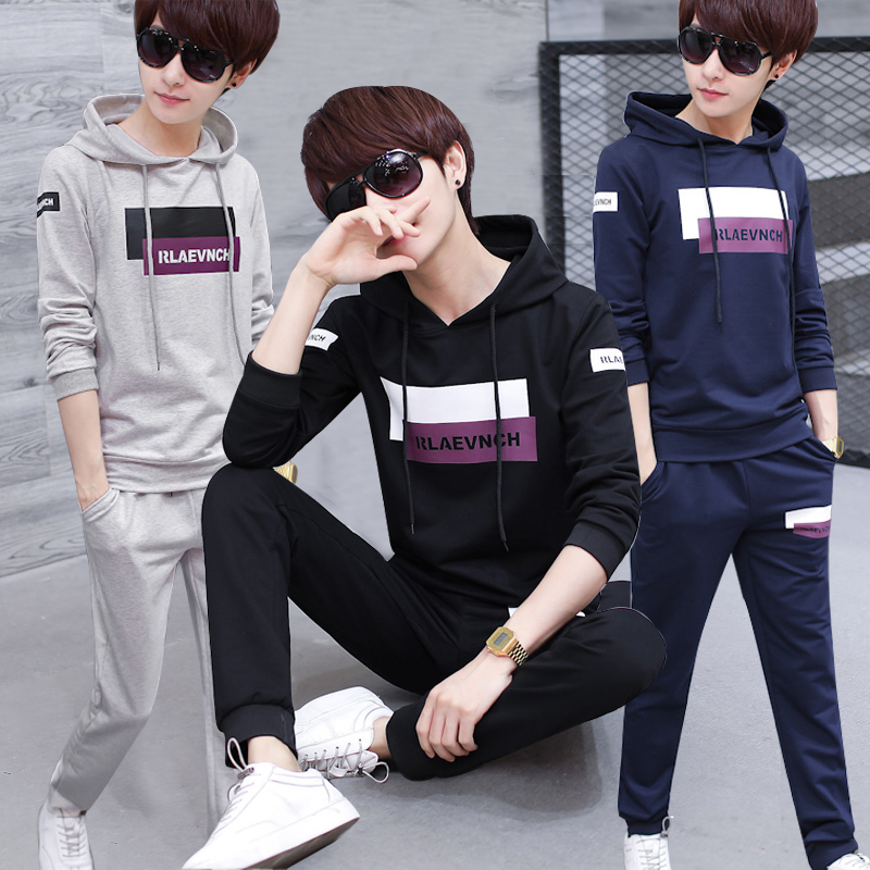 Special offer every day sweater male teenager casual sportswear print hooded jacket men two suit tide tide