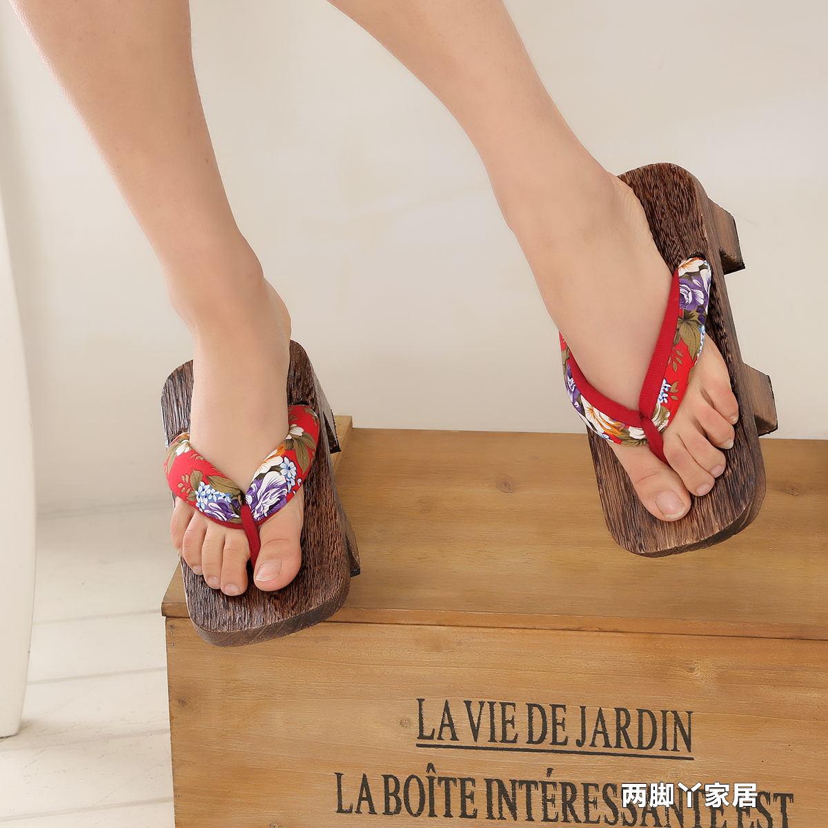 二齿男女日式木屐cosplay木拖鞋板凳情侣木屐鞋厚底人字拖鞋