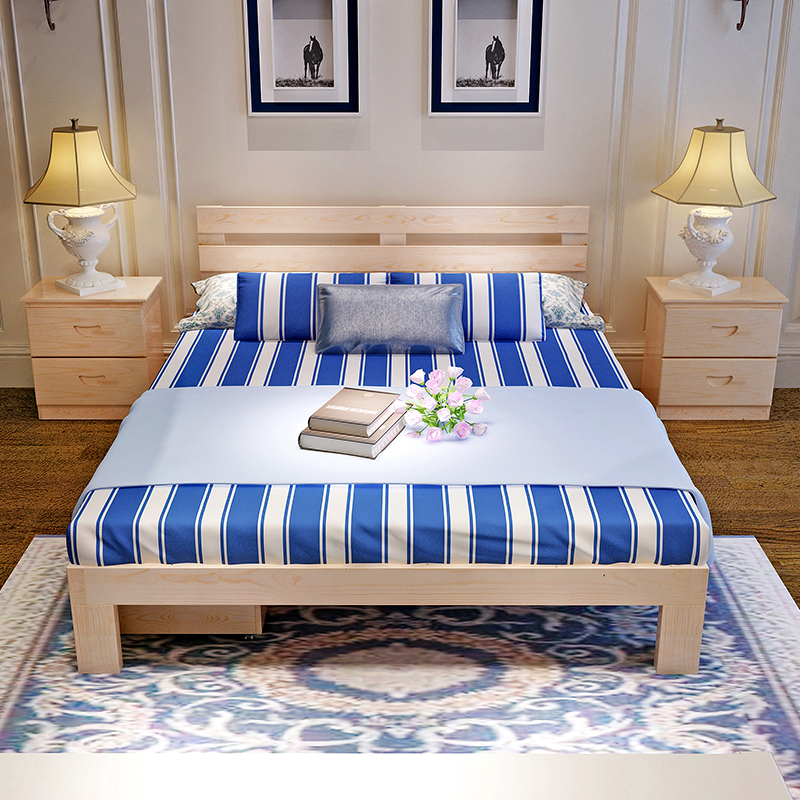 Solid wood bed, pine single bed, adult bed, 1.5m1.8m children bed, princess bed, bedroom, apartment bed
