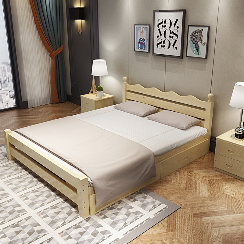 New 1.8 meter double bed, economical pine, modern minimalist rental room, 1.5 wood bed, 1.2m single solid wood bed