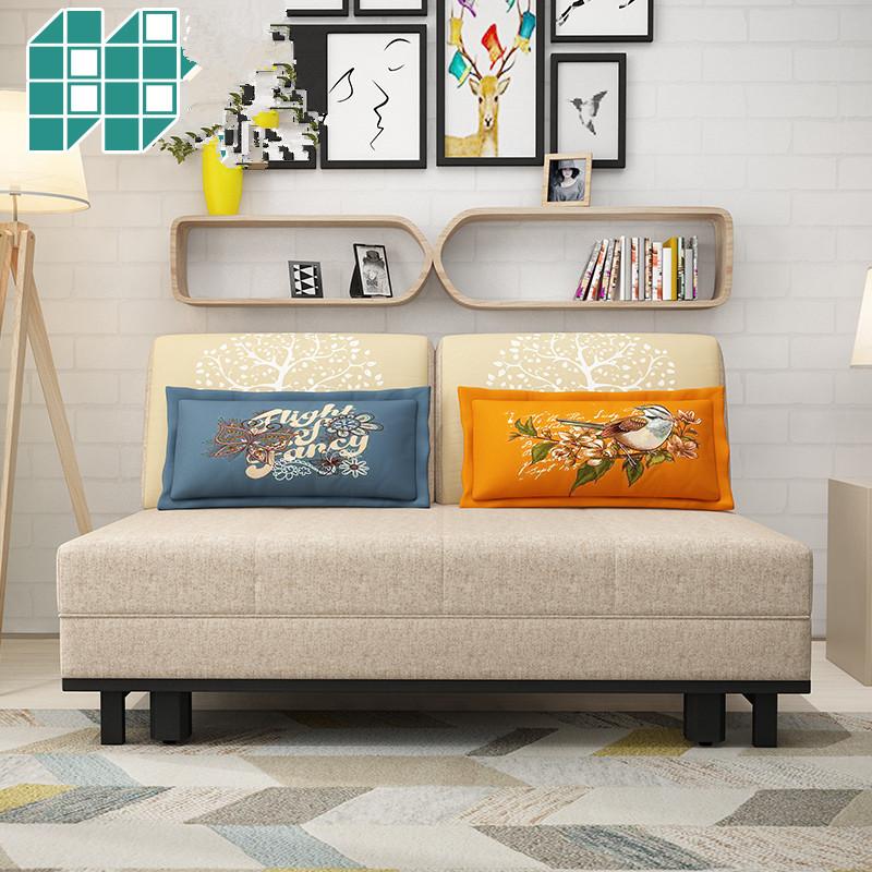 μασίφ ξύλο μπορεί να πτυσσόμενο καναπέ - κρεβάτι 1.2/1.5 μέτρα πολυλειτουργική μικρό μέγεθος σαλόνι απλή σύγχρονη ένα διπλό