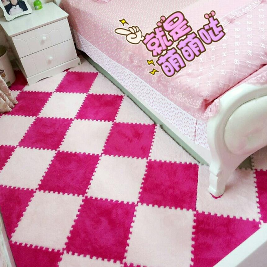 All-match color pad puzzle students dormitory floor mat room bedroom suede stitching tatami