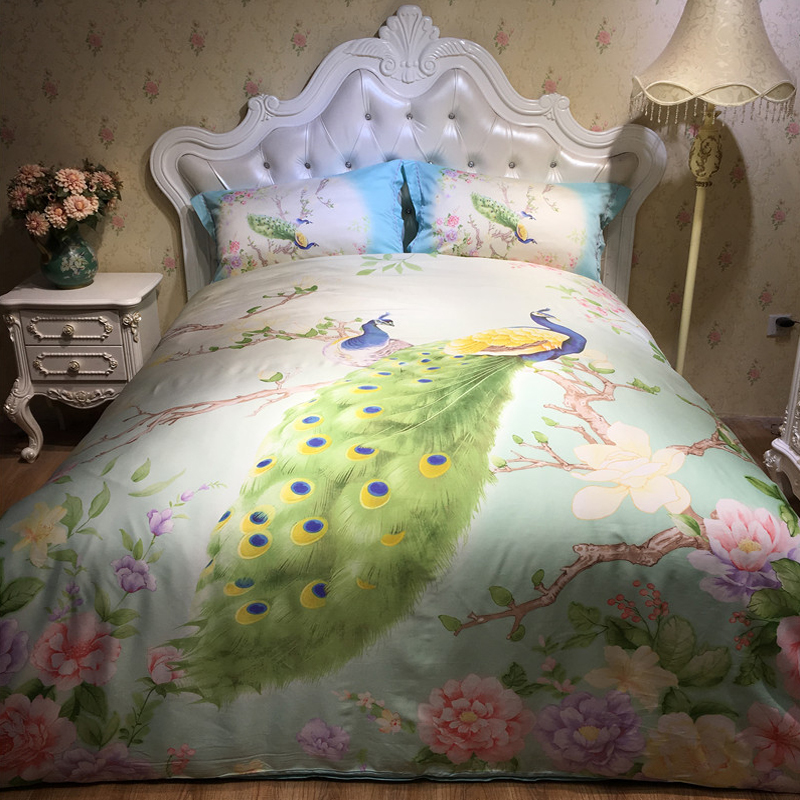 Naked pastoral style four piece cotton cotton silk quilt super soft spring and summer 1.8m meters double bed sheets