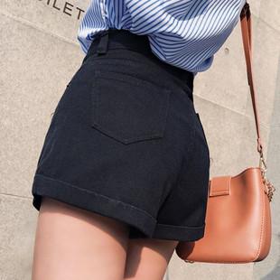 2020高腰黑色牛仔短裤女夏学生卷边宽松显瘦a字短裤阔腿裤热裤女