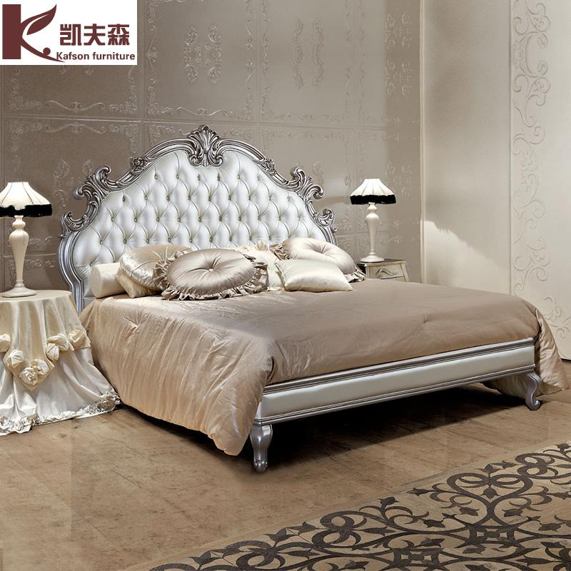 Kaifusen American wood carved double simple European style luxury leather wedding bed princess bed bed 1.8 meters