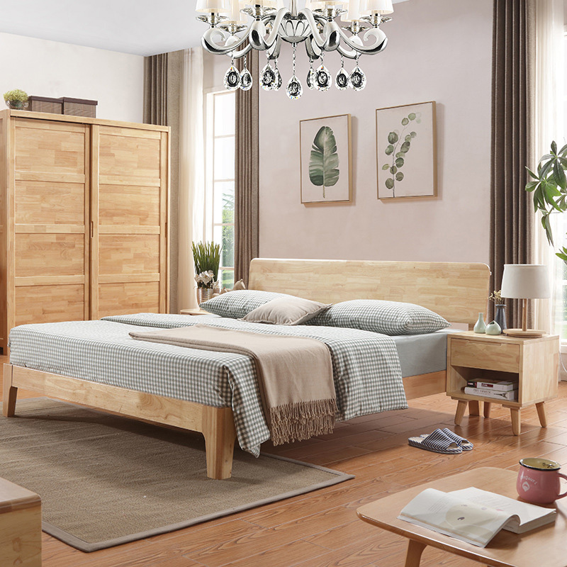 The whole wood bed double 1.8 m bed Zhuwo simple modern economical Japanese wooden bed