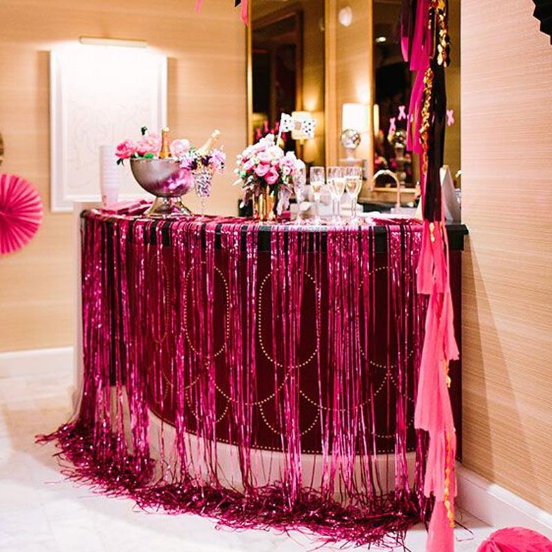 銀色雨絲簾生日派對布置背景墻裝飾婚房婚禮彩帶婚慶門簾2米