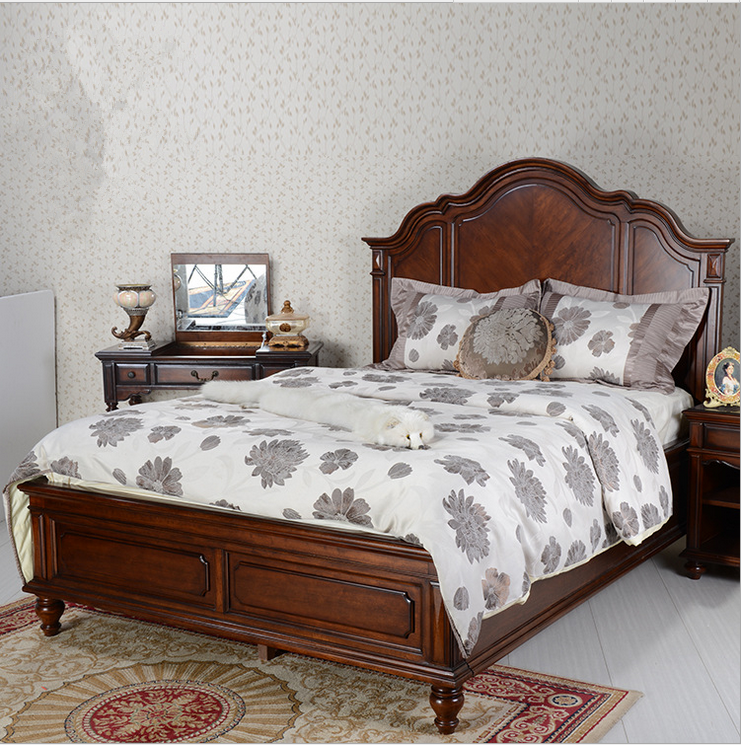 American style solid wood beds, 1.8 meters double beds, oak European style old retro villa, Mediterranean marriage bed package mail
