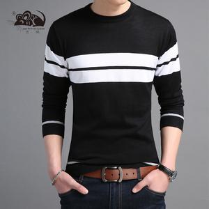 艺鼠秋冬季男士长袖打底衫羊毛衫青年装毛衣韩版休闲年轻人