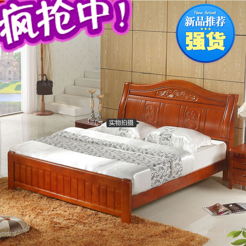Phyl can be real wood bed type double high storage box pneumatic original wooden 1.81.5 package post marriage bed