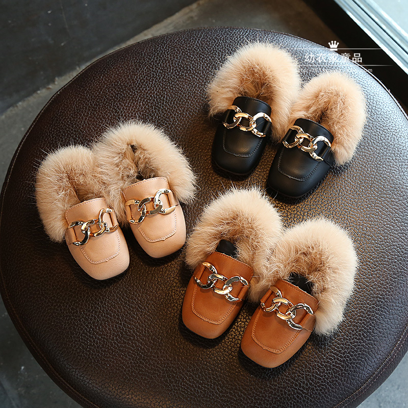 冬季儿童棉鞋方头女童毛毛鞋宝宝时尚公主鞋韩版豆豆鞋皮鞋小童鞋