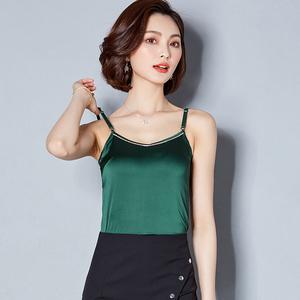 6139#(实拍)夏季新款真丝镶钻镶珠吊带背心肩带可调节打底衫