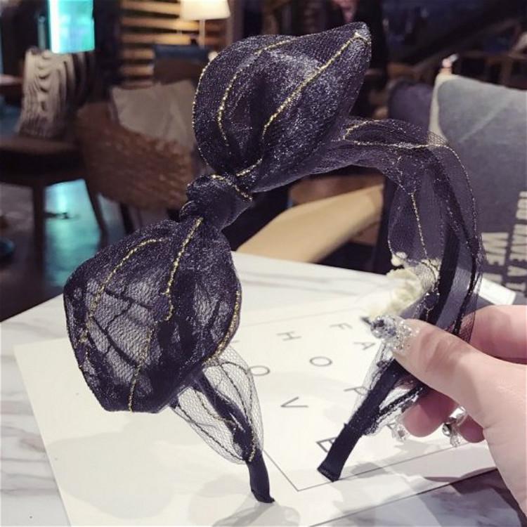 韓国の髪飾り新型レース网纱ストライプ波点うさ耳リボン細ながらカチューシャ頭発箍圧女