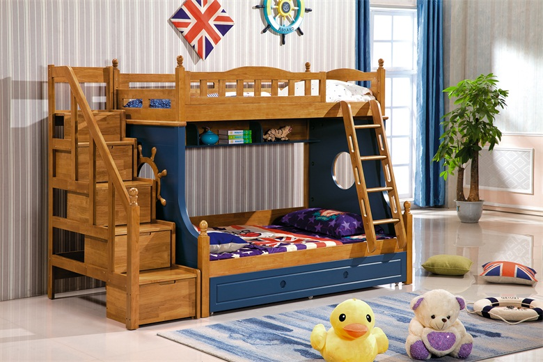 100% all solid wood children up and down shop, mother three bed, high box wardrobe desk, Changsha solid shop furniture