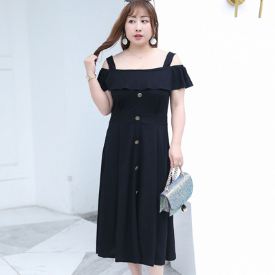 Plus Size Dress large size women's 210 kg summer shoulder strap sexy dress long skirt tide