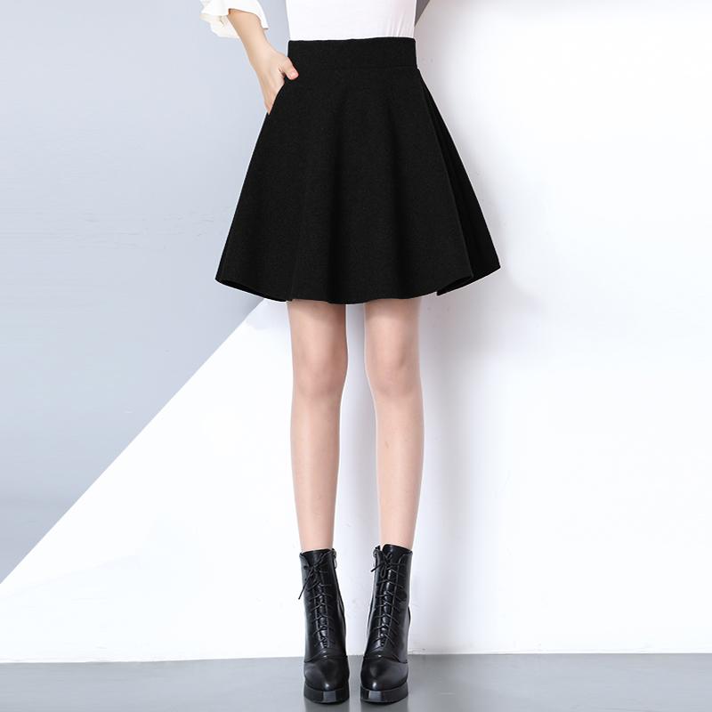 冬季A字毛呢短裙女秋冬裙半身裙中长款加厚呢子伞裙百褶蓬蓬群子