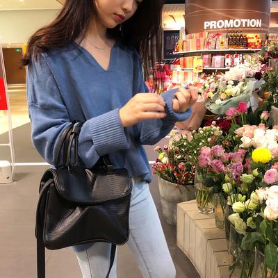 实拍实价控5~8608#秋季新款韩版纯色宽松长袖针织衫慵懒网红毛衣