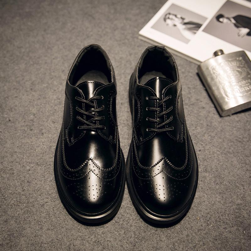 港风布洛克男鞋林弯弯37小码日系圆头韩版皮鞋les英伦马丁靴帅t潮