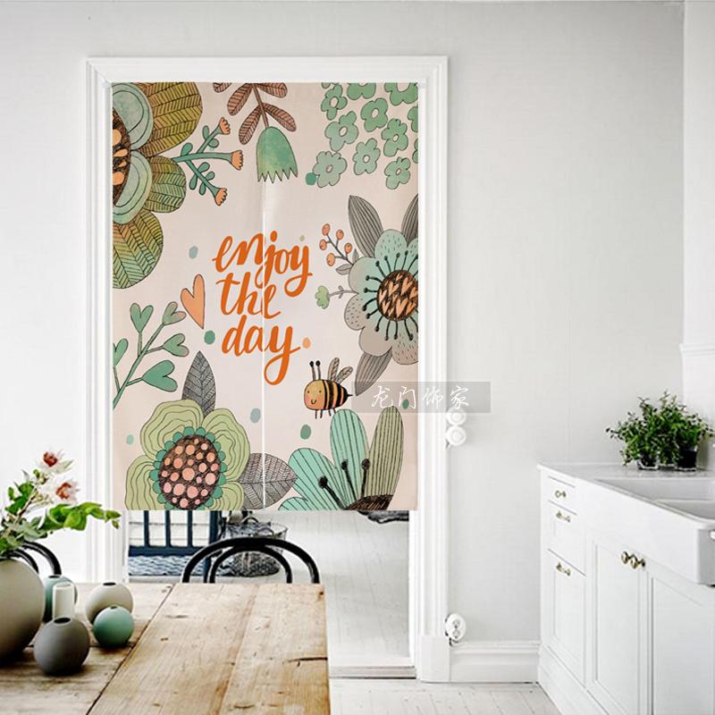 απλά η κουρτίνα καρτούν Nordic ύφασμα προσαρμοσμένο στο σαλόνι κουζίνα κουρτίνα διαχωριστικό κουρτίνα κρεβατοκάμαρα. μισό κουρτίνα