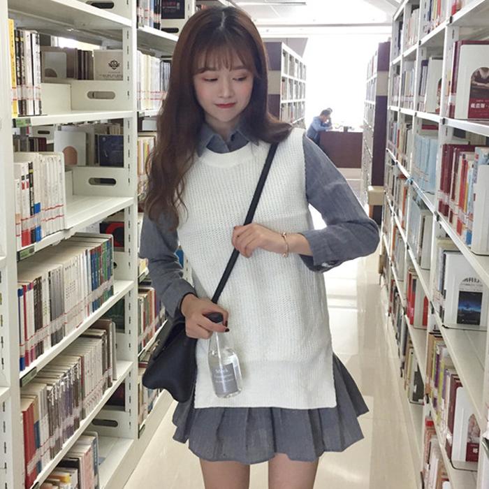 秋装女装韩版条纹长袖衬衫裙荷叶边鱼尾连衣裙毛衣马甲两件套学生
