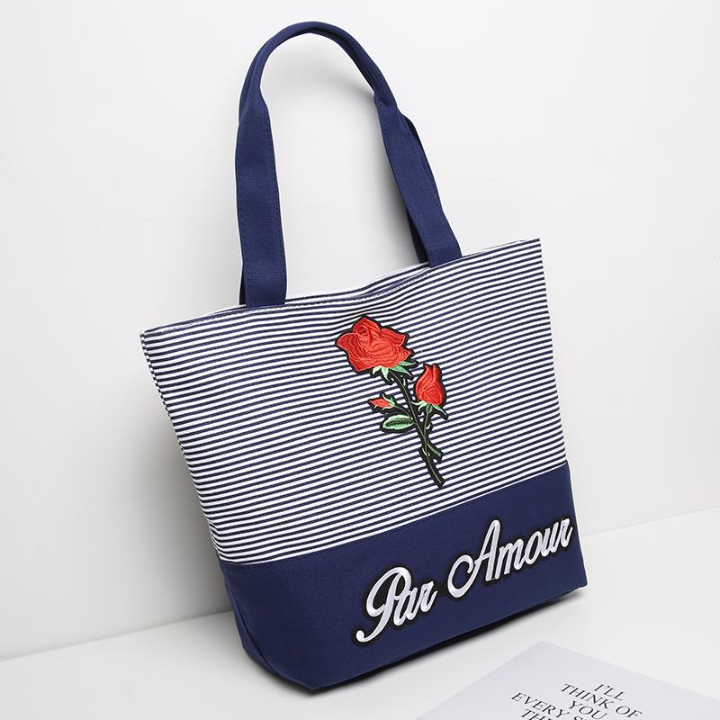 帆布包条纹单肩包包2018新款韩版时尚女包大包包花朵字母手提包潮