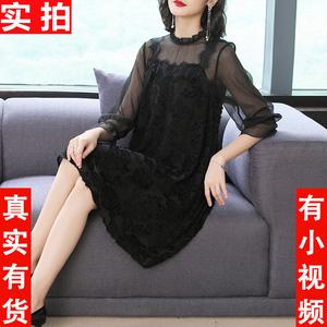 2019春裝新款名媛連衣裙氣質復古溫柔風黑色立領釘珠中裙寬松顯瘦