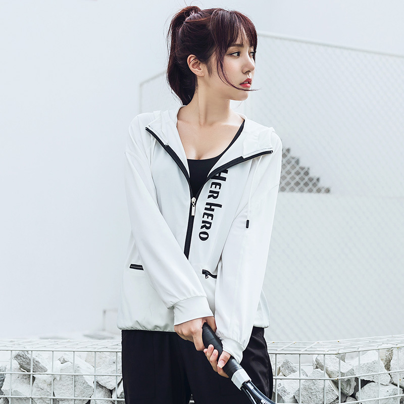 The spring and autumn Korean female Hooded Coat Yoga casual long sleeved Cardigan Size loose fitness running speed drying