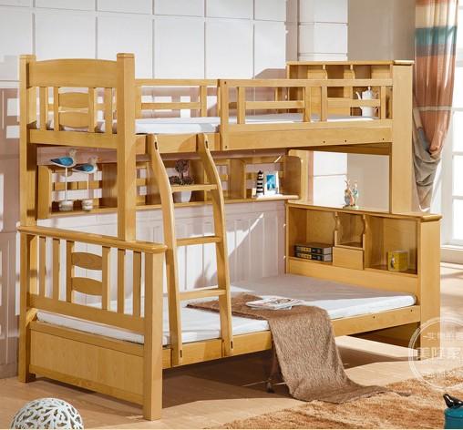 全木造のケヤキ併木段ベッドの本戸棚材の高低のベッドの上で母ベッド離床子供用ベッド