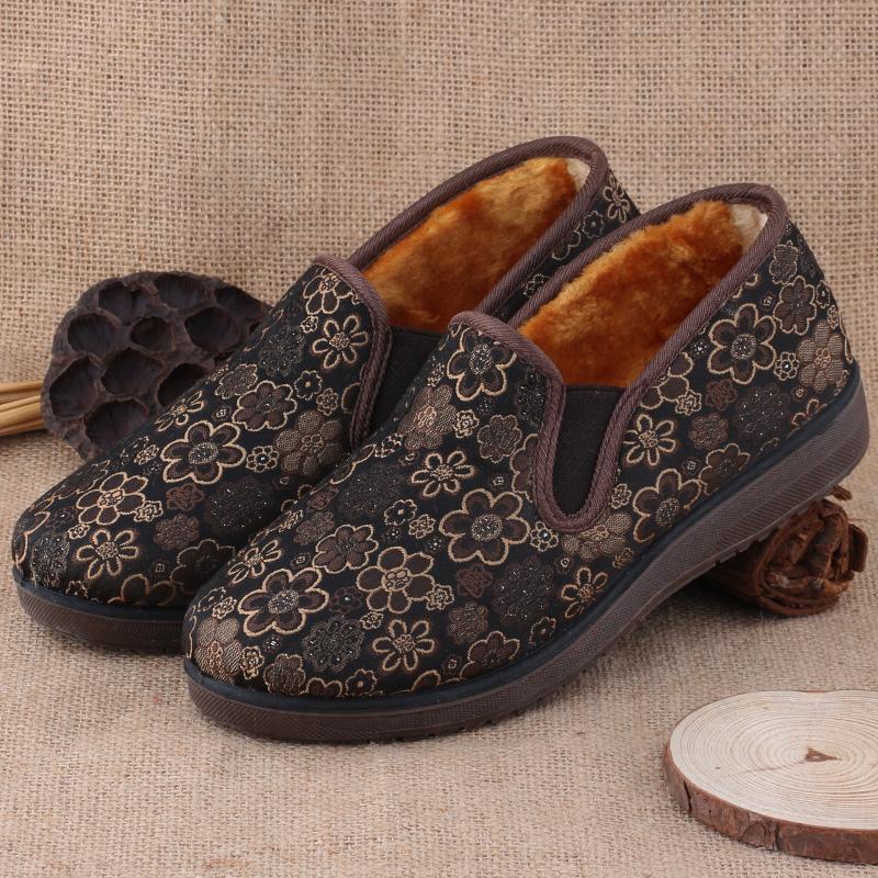 老北京布鞋秋鼕女鞋中老年平跟媽媽鞋軟底老年人棉鞋防滑奶奶棉鞋