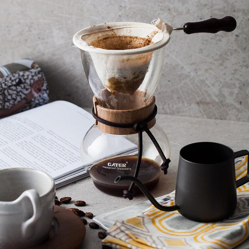 法蘭絨手沖壺朵頤美式法蘭絨手沖壺濾泡壺手沖咖啡壺耐高溫加厚細嘴注水壺
