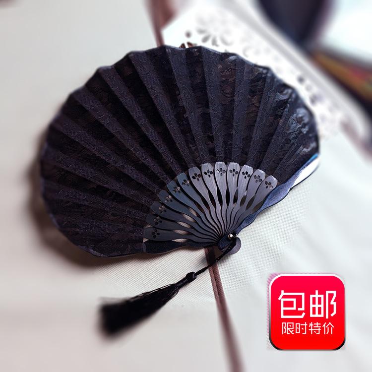 新品蕾丝扇子日式折扇折叠花边贝壳扇女式扇子折扇竹质工艺扇