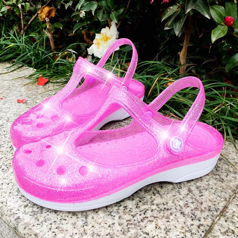 洞洞鞋女夏防滑三亞沙灘鞋厚底包頭塑料涼鞋ins網紅退款哈果凍鞋